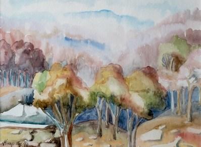 Proljetno jutro - akvarel, 1990., 28x38cm
