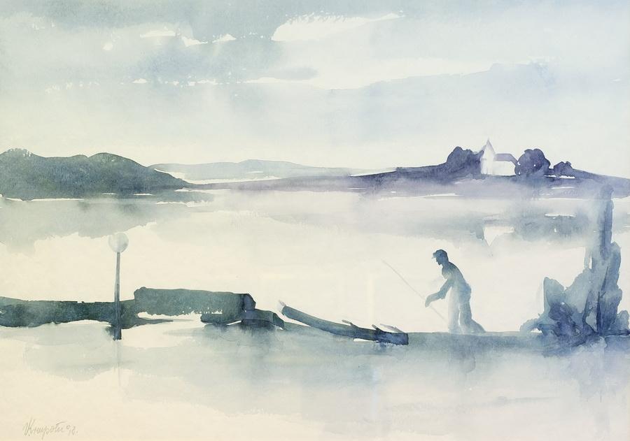 Ribič u smiraj dana - akvarel, 1998., 37x52cm