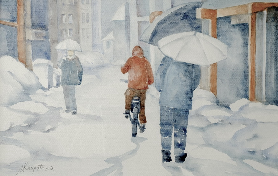 Zima - akvarel, 2013., 37x55cm