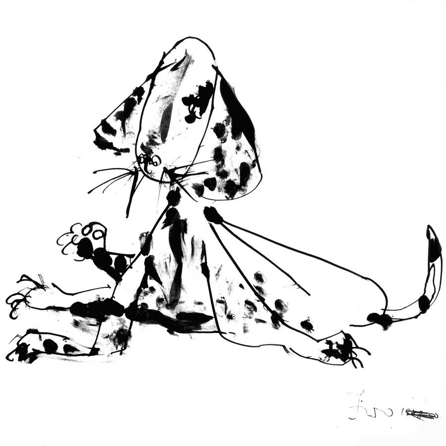 Ivo Šebalj - Pas, tuš, pero/papir, 1948.-1950., 28,5x29cm