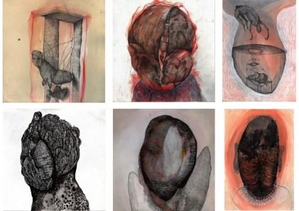 Autoportreti 1 - akril, pastele, olovka, tuš, 25x25cm, 2016.