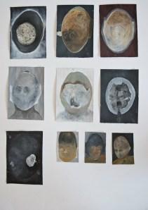 Autoportreti 2 - akril, pastele, olovka, tuš, 25x25cm, 2016.