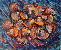 Školjke na žaru - akril, miješani medij na platnu, 60 x 50cm, 2018.