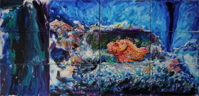 Škarpina u akvariju - akril, miješani medij na platnu, poliptih, 120 x 60cm, 2018.