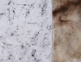 Mape prostora - Vinkovci, frotaž i prirodni pigmenti na tkanini, 2018.