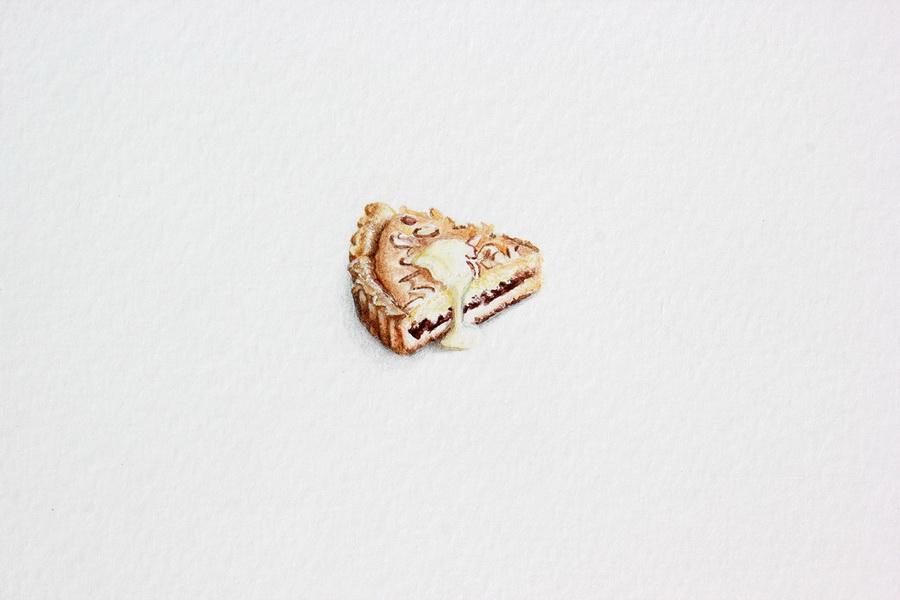 Bakewell Tart- akvarel, akril, drvene bojice; 22 x 27 mm, 2018.