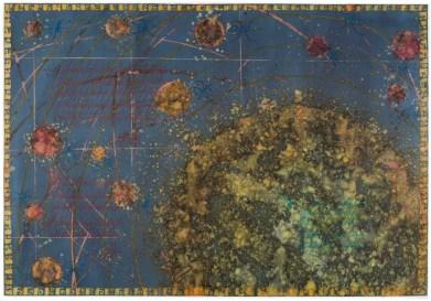 KONFUZNA KARTA ORBITALNIH KRETANJA NEKOLICINE PLANETA NEKOG SUSTAVA MALE ZELENE ZVIJEZDE SA ZAPISIMA NA NEPOZNATOM VJEROJATNO FONETSKOM PISMU - akvarel na papiru, 100x70 cm