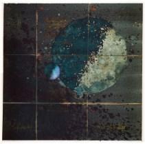 MIJENE SAMOTNOG PLANETA BEZ ATMOSFERE I NJEGOVOG JEDINOG PLINOVITOG SATELITA (0) - akvarel na papiru, 28x28 cm