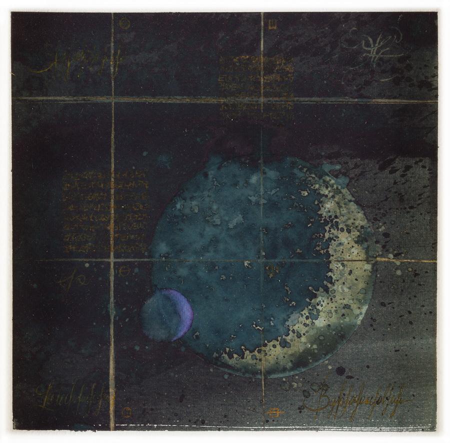 MIJENE SAMOTNOG PLANETA BEZ ATMOSFERE I NJEGOVOG JEDINOG PLINOVITOG SATELITA (1/2) - akvarel na papiru, 28x28 cm