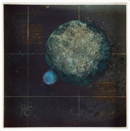 MIJENE SAMOTNOG PLANETA BEZ ATMOSFERE I NJEGOVOG JEDINOG PLINOVITOG SATELITA (3/4) - akvarel na papiru, 28x28 cm