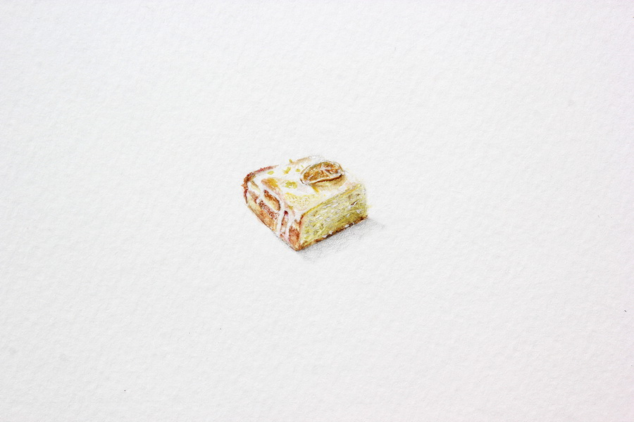 Lemon Drizzle Cake - akvarel, akril, drvene bojice; 23x23 mm, 2018.