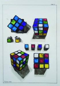 Miran Šabić - TAB I - Rubikova kocka, akvarel, 50 x 35 cm, 2017.