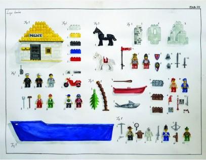 Miran Šabić - TAB XIII - Lego kocke, akvarel, 50 x 65 cm, 2018.