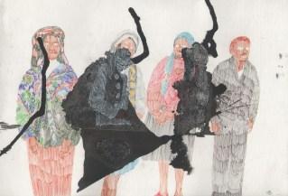 Ana Sladetić - Grupa migranata, kombinirana tehnika, 23 x 32cm