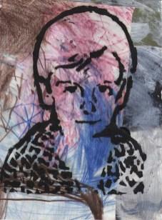 Dječački autoportret - kombinirana tehnika, 21x16 cm, 2017.