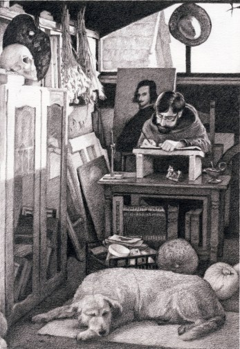 U ateljeu - olovka, 25x 17 cm, 2018