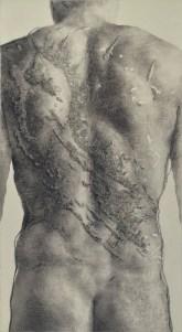Mario Javoran - Rod puntarski resa na drači (Rod pobunjenički rasao na trnju), ugljen u olovci, ugljen u prahu, akril, 930x500mm, 2018.