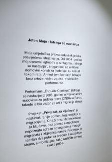 Jeton Muja - Istraga se nastavlja, 2018., foto: Duško Miljanić