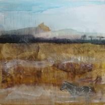 National Park Serengeti (Tanzania), collage on canvas, 60x60cm, 2016.