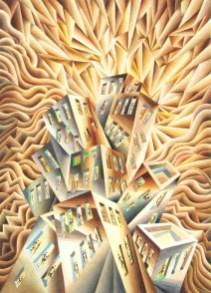Damir Facan-Grdiša - Grad u zoru, akvarel na papiru, 70x50cm