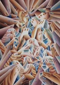 Damir Facan-Grdiša - Grad u sumrak, akvarel na papiru, 76x54cm