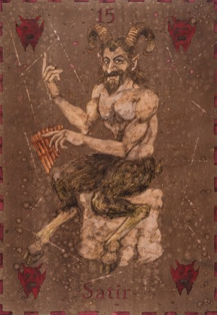 Siniša Reberski - Satir al i Stjepo, akvarel na papiru, 50x70cm, 2019., foto: Josip Strmečki