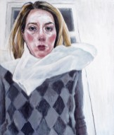 Autoportret kao klaun - akril na ljepenci, 30x35cm, 2018.