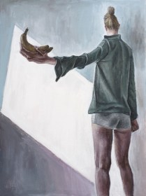 Autoportret s dvije banane - akril na kaširanom platnu, 30x40cm, 2018.