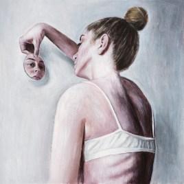 Autoportret s ogledalom - akril na ljepenci, 35x35cm, 2018.