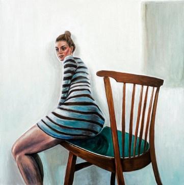 Autoportret sa stolcem - akril na ljepenci, 35x35cm, 2017.