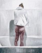 Figura u kadi - akril na kaširanom platnu, 24x30cm, 2018.