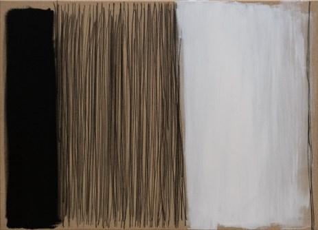 """Black, Karbon, White i opet Karbon"", 80x110cm, akril i ugljen na platnu, 2017."