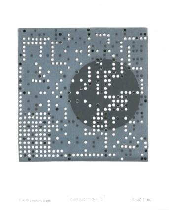 Kompozicija B, 2016., linorez/pečat, 22x26