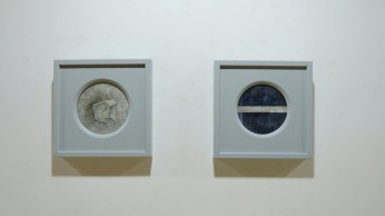 Lijevo: Treća šalica, desno: Odrazi, , akvarel na ručno rađenom okruglom papiru promjera 30cm