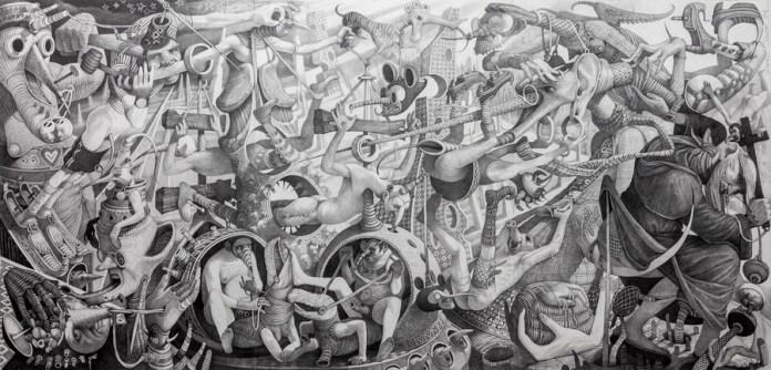 Iskušenje sv. Antuna, 1994 - 1995, olovka na papiru,110 x 225 cm