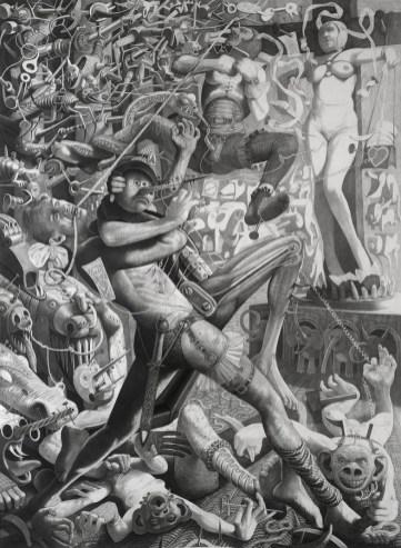 Ljubavna priča I, Tarzan i Jane, 1995-1996., olovka na papiru, 150 x 110 cm