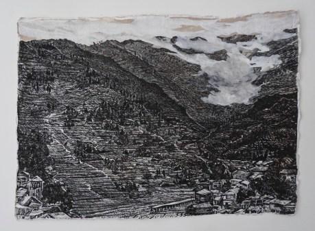 Magla tiho preuzima, crni tuš i akril na ručno rađenom papiru, 21x29,7cm