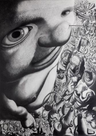 Mali svijet, 2002., olovka na papiru, 212 x 150 cm