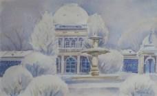 Milivoj Svoboda - Kursalon - Lipik, akvarel, 27,5x41,5cm