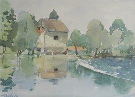 Milivoj Svoboda - Mlin na Kupi, akvarel, 28,5x38cm, 2008.