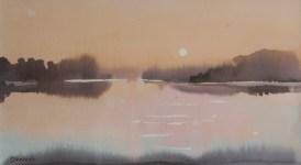 Milivoj Svoboda - Smiraj dana, akvarel, 19x34,5cm, 2012.