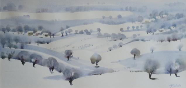 Milivoj Svoboda - Zima u Hrvatskom zagorju, akvarel, 29,5x53,5cm, 2016.