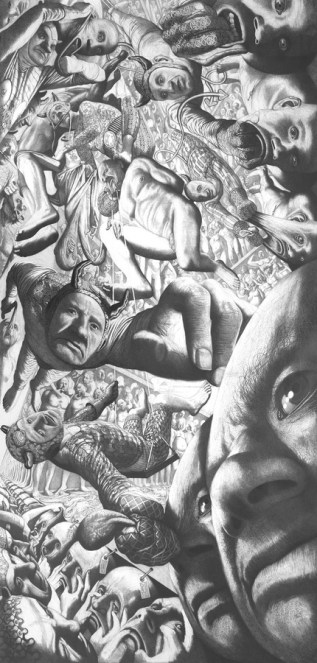 Pakao, 2001., olovka na papiru, 230 x 107 cm