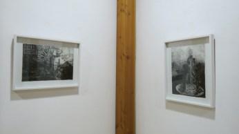 Lijevo: Projekcija životnog zadatka - Drvo života, desno: Boca beskrajne tuge, crni tuš i akvarel na ručno rađenom papiru, 42x29,7cm