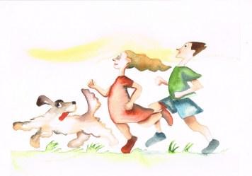 Damir Facan-Grdiša - Djevojka, mladić i pas; akvarel na papiru