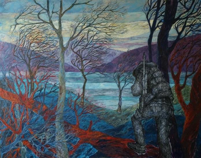 Šuma - tuš i ulje na platnu, 110 x140cm, 2018.