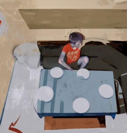 Mihael Bađun - Prije ručka; digitalna ilustracija, 2020.