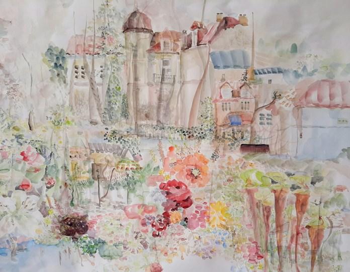 Detalj, dio rada Moja bajka zvana Cetinje, 1,x5 m x 3m, akvarel, 2020.