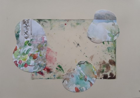 The view through the window II, watercolor collage,