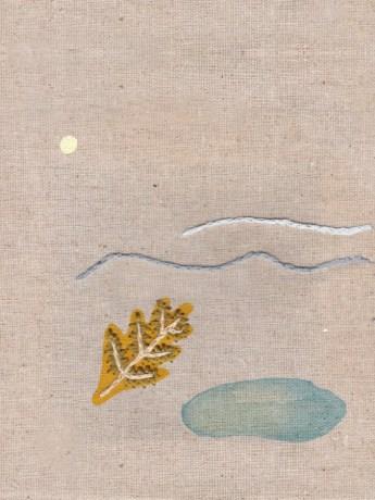 Kada je moru hladno - ručni vez, marker, akvarel na platnu, 30x40cm, 2019.